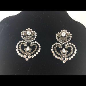 Givenchy Clip Earrings Gun Metal/Swarovski Crystal